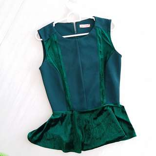 Sole mio Green peplum top