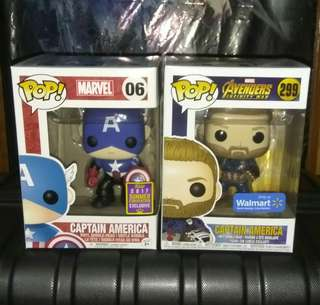 (ON HAND) Captain America Classic with Bucky Cap & Avengers Infinity War Marvel Funko Pop Bundle