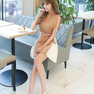 【SA】♡韓版收腰拼接連衣裙♡僅一件♡全新僅試穿未下水♡尺寸不合所以售出♡