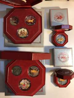 Bundle sell Singapore colored 2 OZ silver proof coins & coin sets