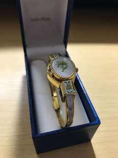 Vintage Andre Mouche Swiss Made Edelweiss Bangle with Inner Watch