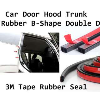 1 Meter Car Door Hood Trunk B-Shape Double D 3M Tape Rubber Seal Sound Insulation