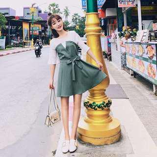 【SA】♡韓版夏季短袖荷葉邊拼接連衣裙♡僅一件♡全新僅試穿未下水♡尺寸不合所以售出♡