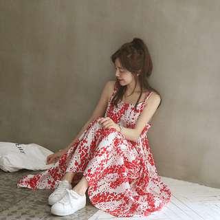 【H.BANDWAGON】韓國清新紅色碎花細肩帶長洋裝