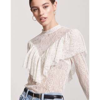 Lace Flounce Top - Small
