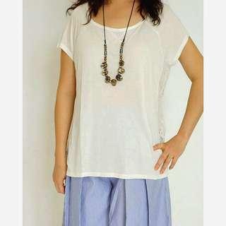 SALE...  (CST-1725) FOREVER 21 Top kaos putih, samping renda ( ORI)