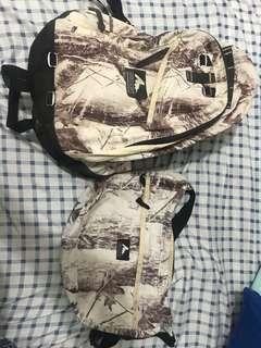 Gregory 極罕有 絕版白樹紋 一套兩款 斜咩及背包 送Agnes'b 黑色三用袋