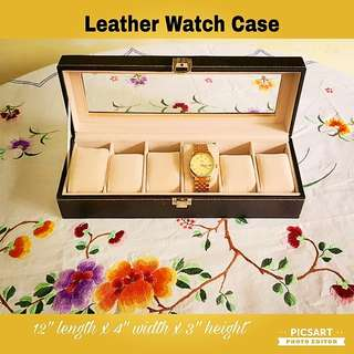 Beautiful Black Leather Watch Display Case. Good Condition. $20 Clearance Offer, sms 96337309.