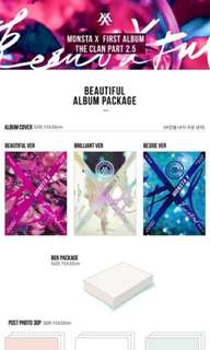 Monsta X Beautiful/Beautiful Version/CD/Post Photos/Lyric Booklet/1 Sticker/Freebies(Unofficial photocards)