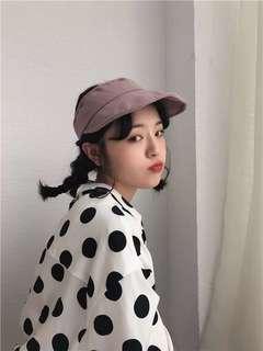 🚚 韓系 質感藕色系簡約純色鴨舌帽遮陽帽 預購