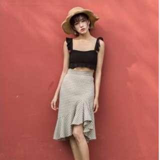 潮流韓風高腰顯瘦格子半身裙性感包臀荷葉邊長魚尾裙