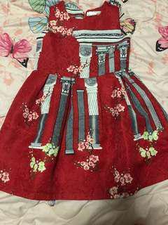 korean red dress for kids