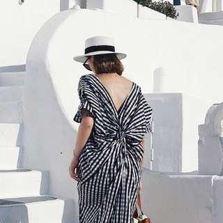 韓版大露背格紋洋裝