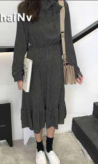 [BNWT] Instock Korean style long sleeves thin bow knot chiffon dress