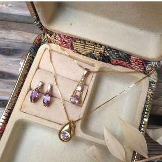 Skin&Moss Vintage復古紫光煥彩系列飾品台灣早期製項鍊庫存品極光眼淚水滴型單鑽簡約項鍊