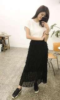 🚚 2143 黑色羽毛長裙