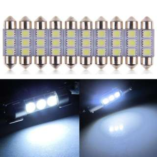 36MM 3 LED 5050 Festoon Dome Number Plate Roof Cool White LED (1 Pair)