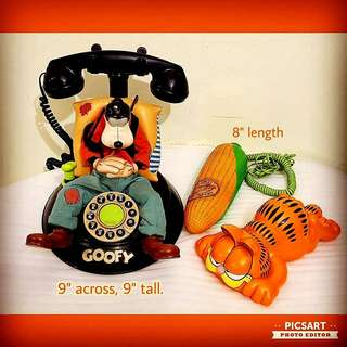 Vintage Local Telephones for Sale. Sleeping Goofy, Corn & Garfield. Non-working Display Condition. All 3pcs for $20 Clearance Offer, sms 96337309.