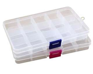Practical Adjustable Plastic 15 Compartment Storage Box Case Bead Rings Jewelry Display