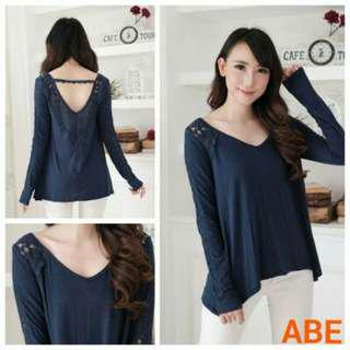 Blouse Abe Navy Vback Lace