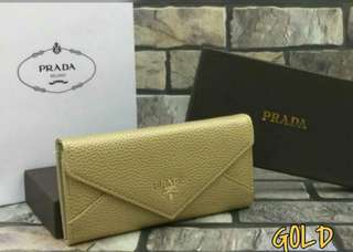 Prada Wallet Gold Color