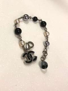 Chanel 黑色白色銀色 珠珠 手鏈