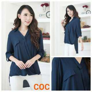 Blouse Coc Navy Wrapped