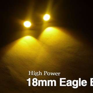 Eagle Eye 1 LED DRL for Car and Bike 18 MM Yellow Amber Color (1 Pc)
