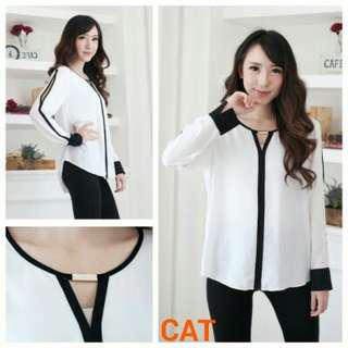 Blouse Cat White Line Border
