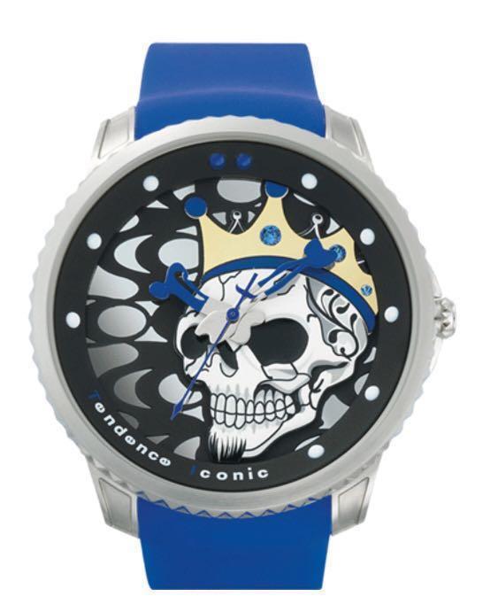 new product 64753 500d9 瑞士品牌 Tendence Iconic Joker Skull Watch King Dark Blue Rubber Strap Quartz  TGX30006 時計