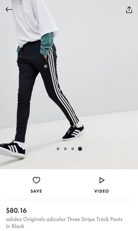 e9c2f0612b adidas three stripe track pants in black