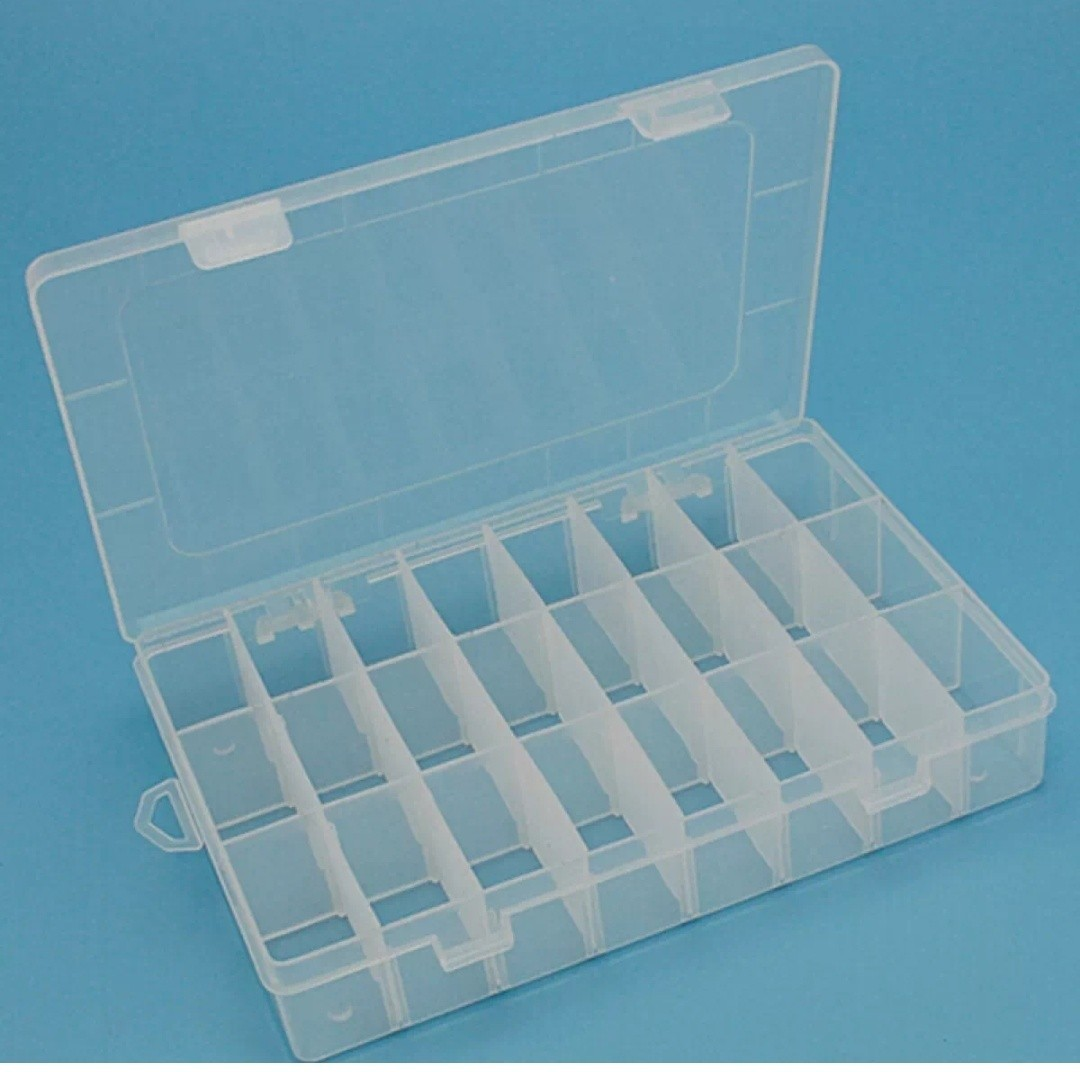 Adjustable 24 Compartment Plastic Storage Box Jewelry Earring Case