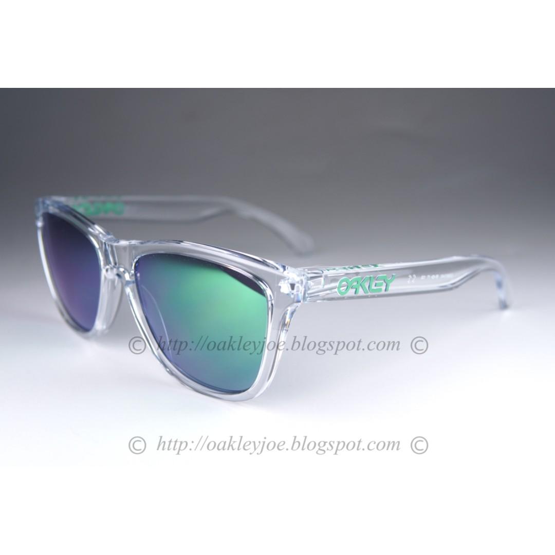 8cb677f757972 BNIB Oakley Frogskins crystal clear + jade iridium oo9013-A3 ...