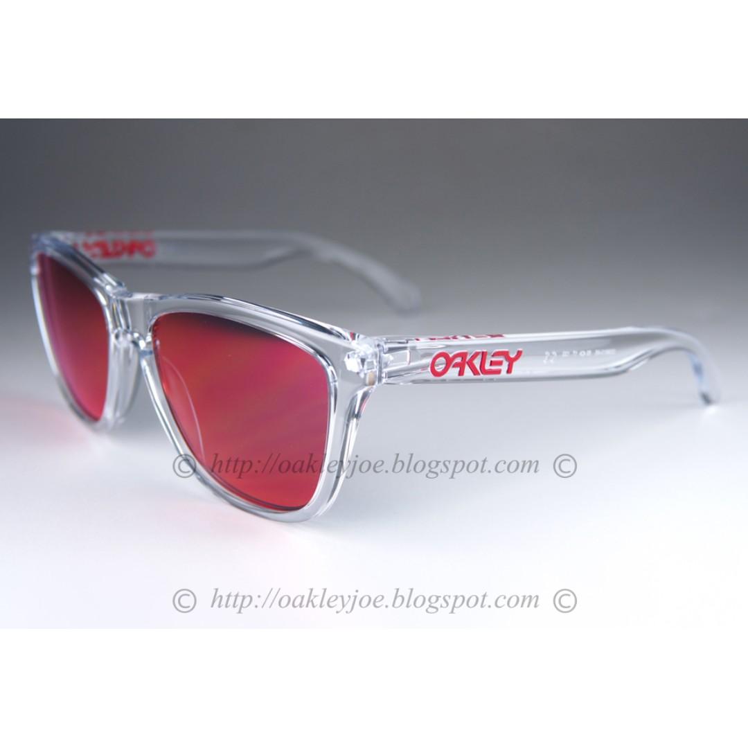 4652b2a6a9 BNIB Oakley Frogskins crystal clear + ruby iridium OO9013-A5 ...