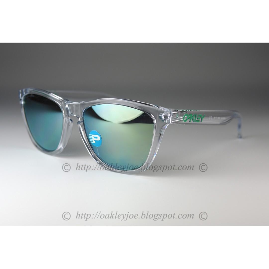 90420f4898 BNIB Oakley Frogskins Custom clear + jade iridium polarized sunglass ...