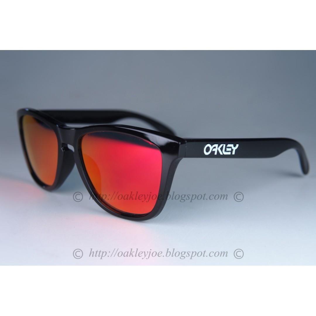 3280b61cabf9 BNIB Oakley Frogskins Custom polished black + ruby iridium sunglass ...