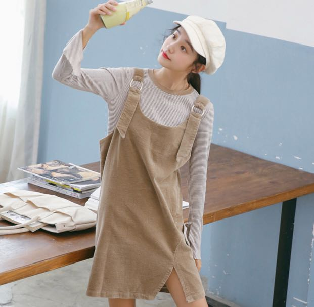 bb703b00190f ️CLEAR‼ beige suede overalls dress, Women's Fashion, Clothes ...