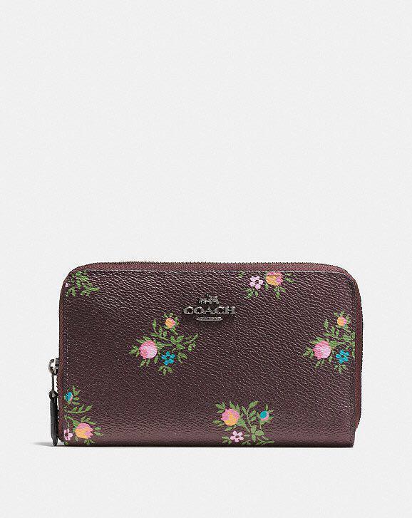 Coach medium Zip Around Wallet with Cross Stitch Floral Print