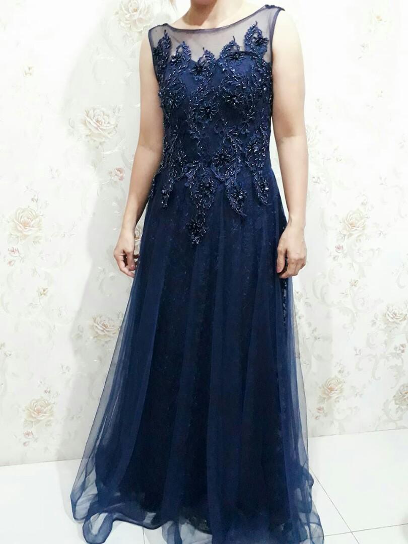 Gaun Pesta Navy Blue Biru Navy Women S Fashion Women S Clothes