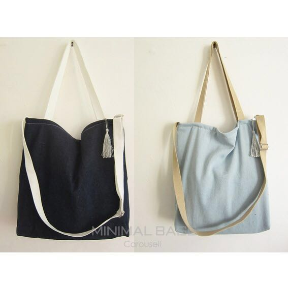 Instock BN Denim Canvas Tote Bag Sling Crossbody Single Shoulder ...