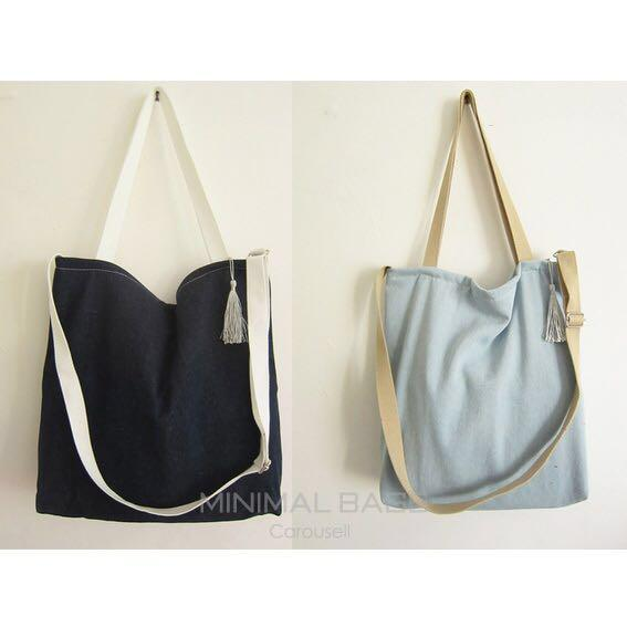 06fd50ce915 Instock BN Denim Canvas Tote Bag Sling Crossbody Single Shoulder ...