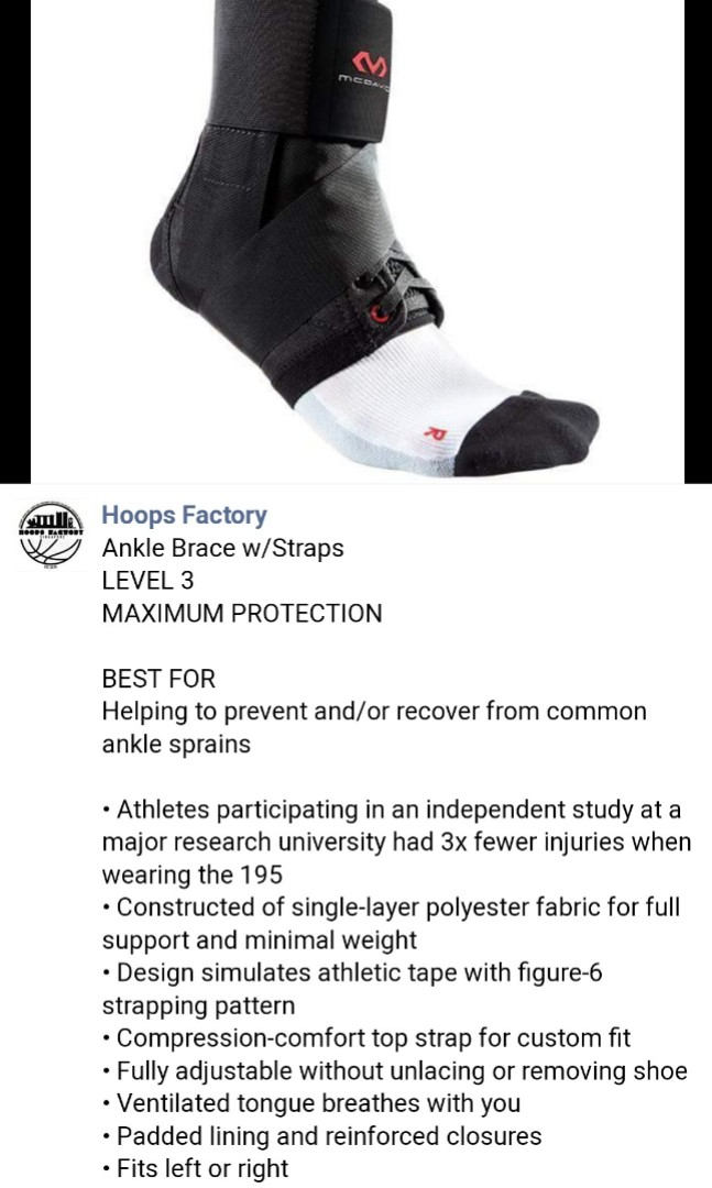 617f5b69db MCDAVID ankle brace w/straps LEVEL 3(LARGE size), Sports, Braces ...