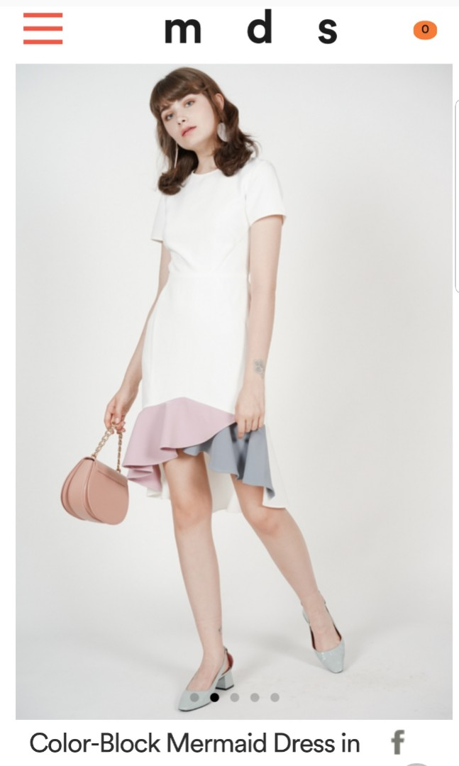 9551a4e5143 Mds bnwt color-block mermaid dress in white size s