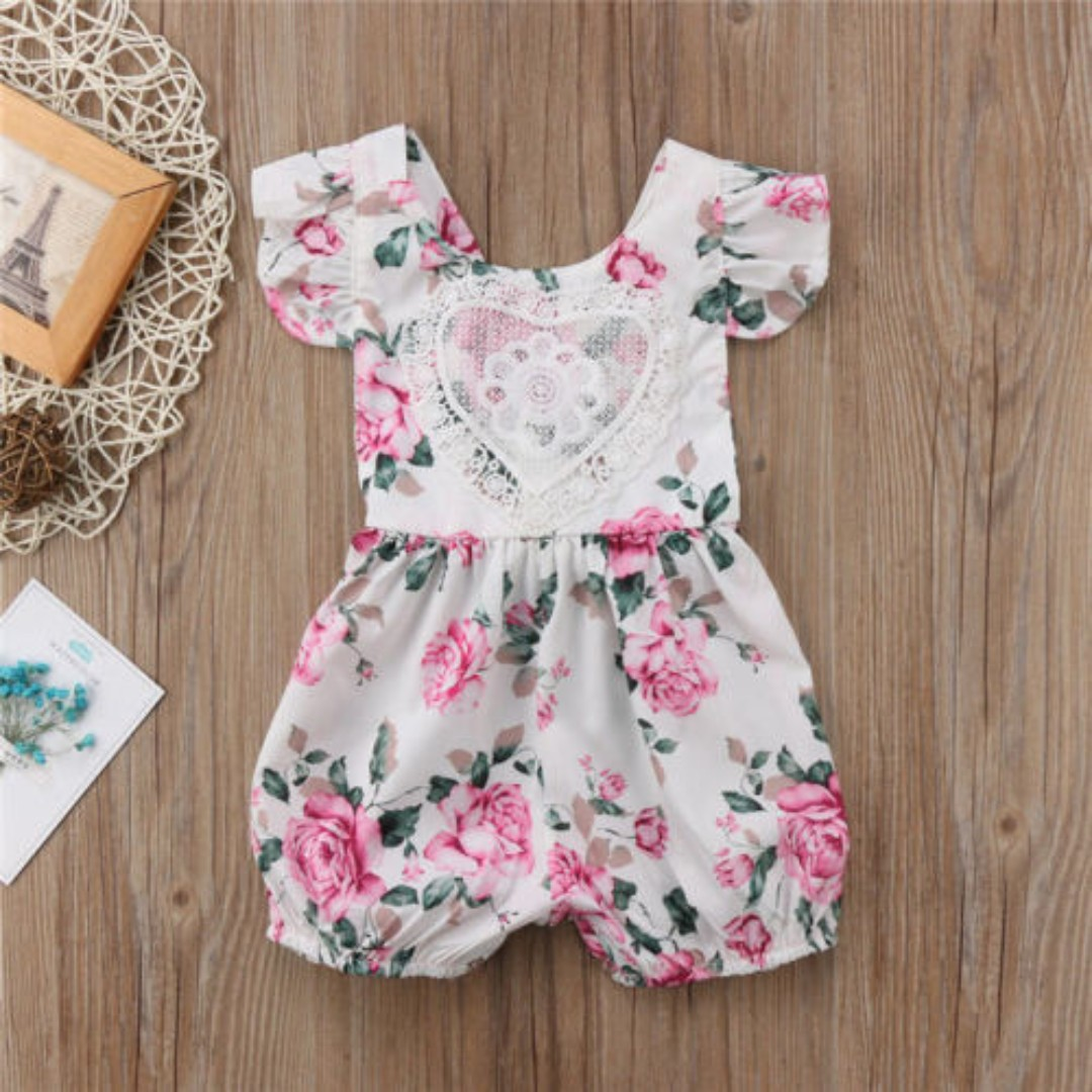 634f1e3c867e Newborn Kids Baby Girl Floral laces Jumpsuit Outfits heart Clothes ...
