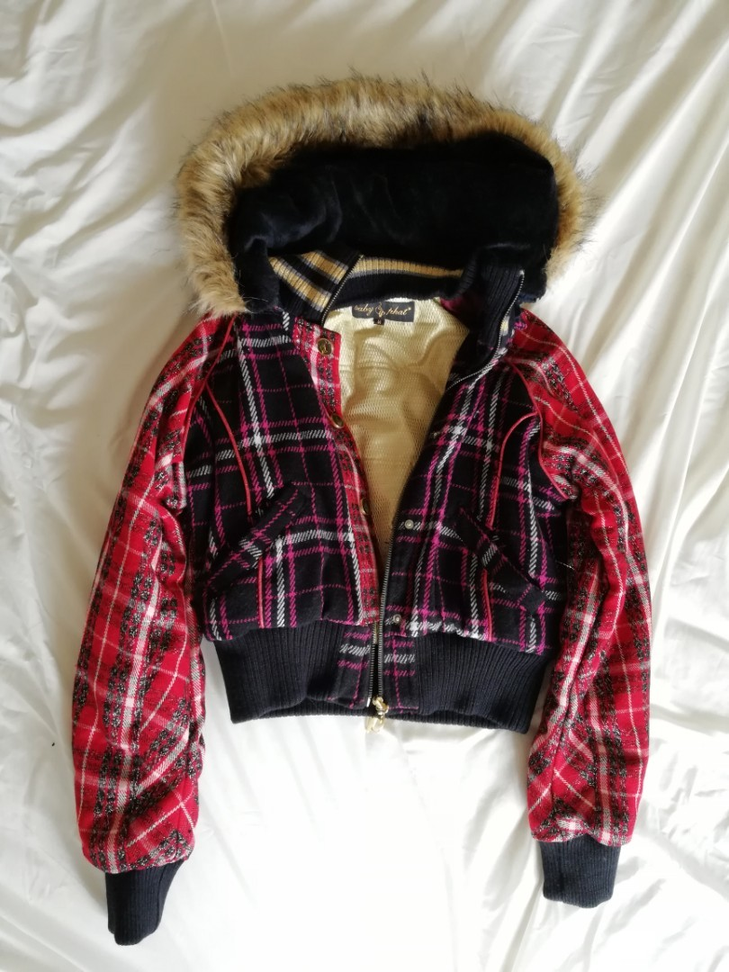 82321556f ORIGINAL Baby Phat Cropped Jacket with Faux Fur Hoodie