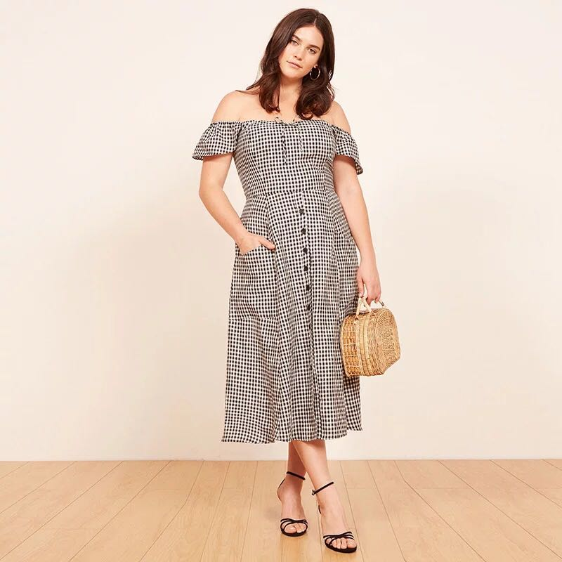 3a695103f3f Plus Size PO  Off Shoulder Gingham Maxi