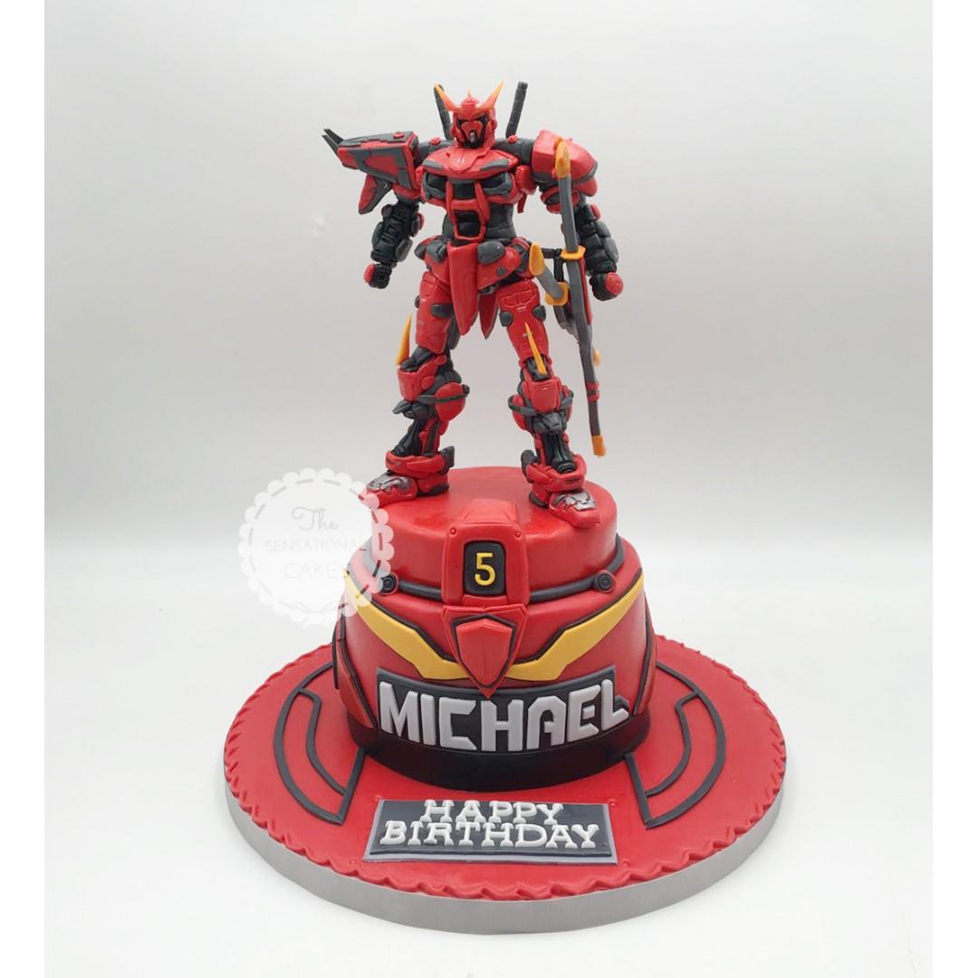 Red Ghost Gundam Customized Theme Cake Boys Birthday Cake