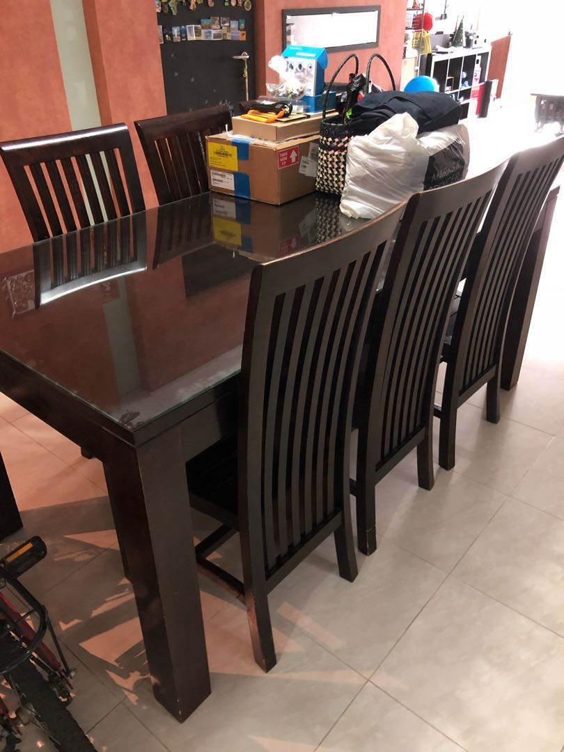 Solid Wood Balinese Dining Table With 6 Chairs And Glass Top, Furniture,  Tables U0026 Chairs On Carousell