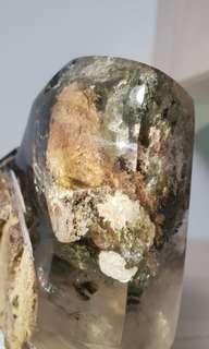 Lodolite Phantom Quartz Crystal with Chorlite, Feldspar, Rainbow Inclusion from Brazil 彩幽灵水晶