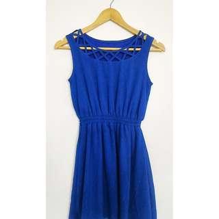 Dress Anggun Minimalis Style Jepang Biru Terang